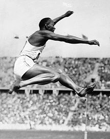 Jesse Owens at the 1936 Olympics in Berlin, Germany (Bundesarchiv)