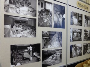 "Attempted destruction of files by the Stasi and bags of files recovered - photos on exhibit in ""Haus in der Runden Ecke"", Leipzig."