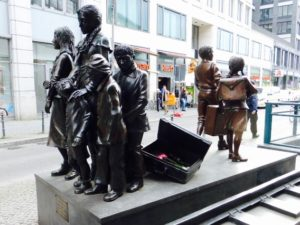 """Trains to Life - Trains to Death"" Memorial by Frank Meisler at Berlin's Friedrichstrasse railway station. Photo © J. Elke Ertle, 2017. www.walled-in-berlin.com"