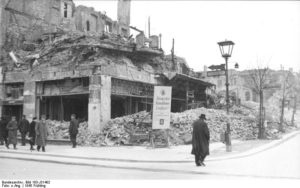 Former Café Kranzler at Unter den Linden and Friedrichstrasse after having been completely destroyed by British and American air raids. Photo courtesy of Bundesarchiv_Bild_183-J31402, 1945. www.walled-in-berlin.com