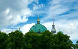 Tops of Berliner Dom, two spires and Television Tower. Photo © Gundi Seifert, 2017. www.walled-in-berlin.com